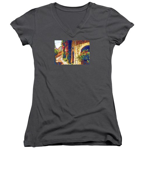 Medieval Saint-paul-de-vence Women's V-Neck T-Shirt (Junior Cut) by Dennis Cox WorldViews