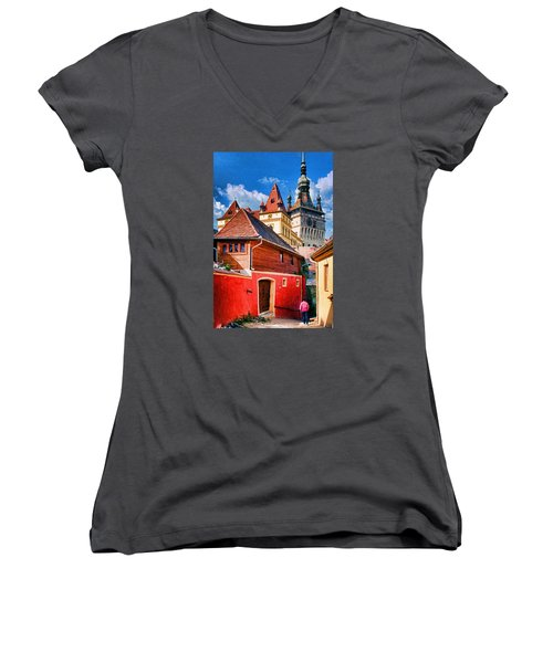 Medieval Sighisoara Women's V-Neck T-Shirt (Junior Cut) by Dennis Cox WorldViews