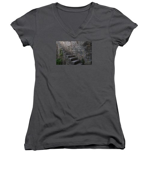 Medieval Wall Staircase Women's V-Neck T-Shirt (Junior Cut) by Angelo DeVal