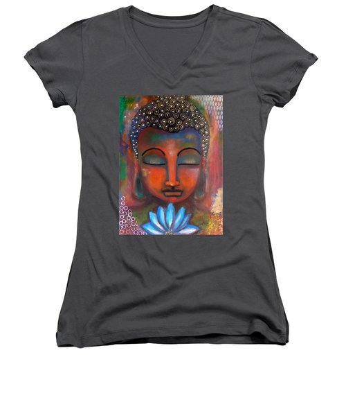 Meditating Buddha With A Blue Lotus Women's V-Neck T-Shirt (Junior Cut) by Prerna Poojara