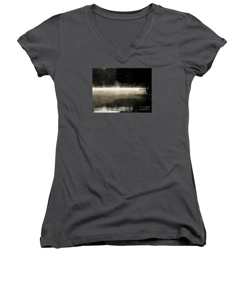Women's V-Neck T-Shirt (Junior Cut) featuring the photograph Meditation Morning by France Laliberte