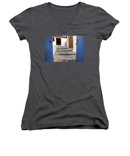 Mediteranean Old House Women's V-Neck T-Shirt