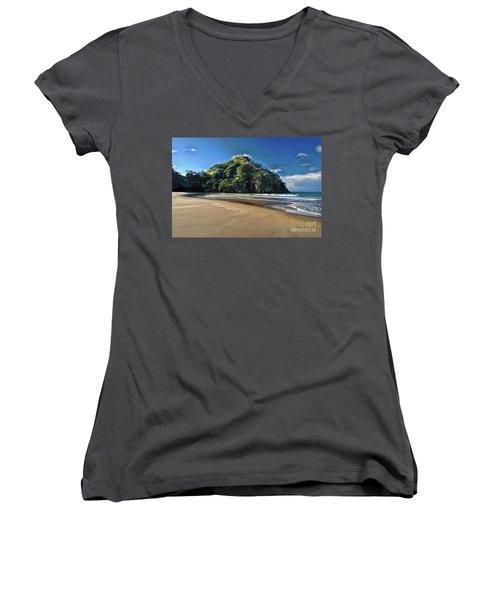Medlands Beach Women's V-Neck T-Shirt (Junior Cut) by Karen Lewis