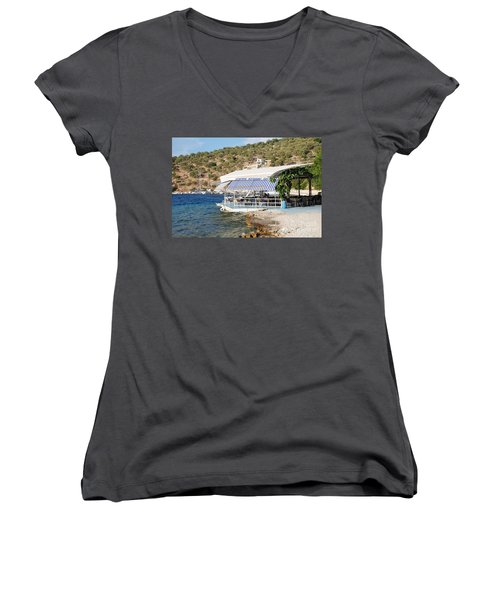 Meganissi Beach Taverna Women's V-Neck T-Shirt
