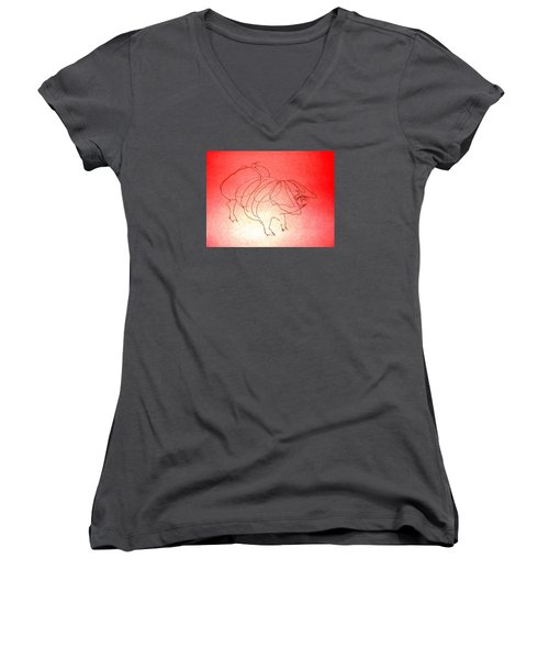 Meishan Sow 3 Women's V-Neck T-Shirt (Junior Cut) by Larry Campbell