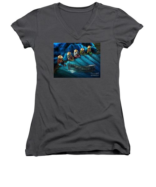 Women's V-Neck T-Shirt (Junior Cut) featuring the painting Mekong Weavers by Mojo Mendiola