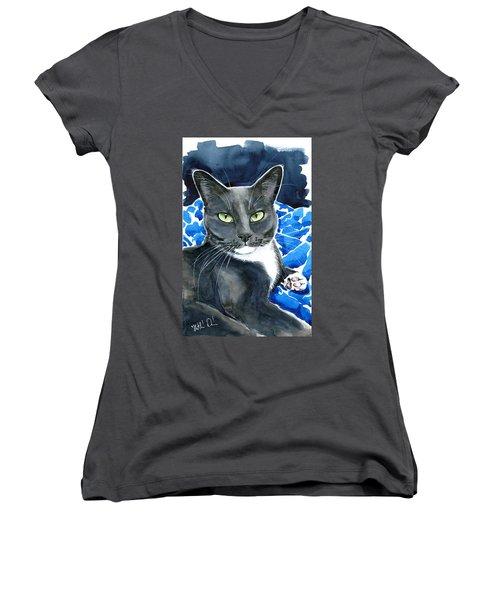 Melo - Blue Tuxedo Cat Painting Women's V-Neck
