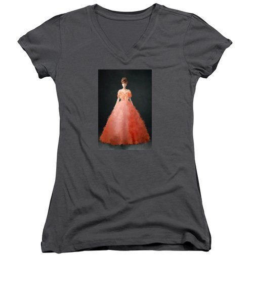 Women's V-Neck T-Shirt featuring the digital art Melody by Nancy Levan