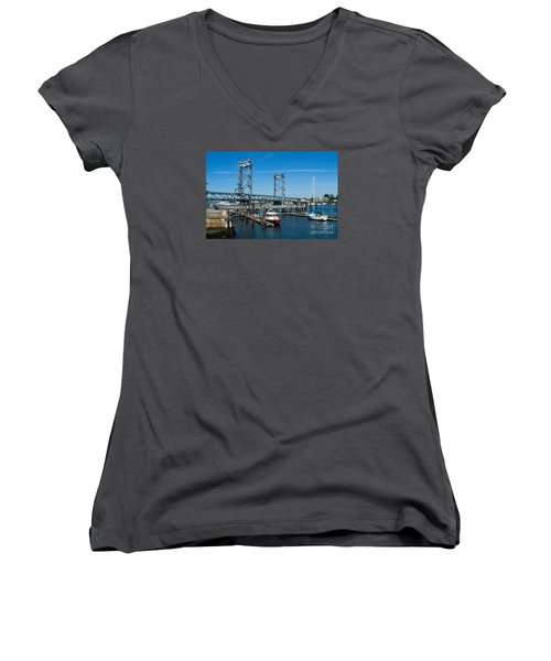 Memorial Bridge Portsmouth Women's V-Neck T-Shirt (Junior Cut) by Kevin Fortier