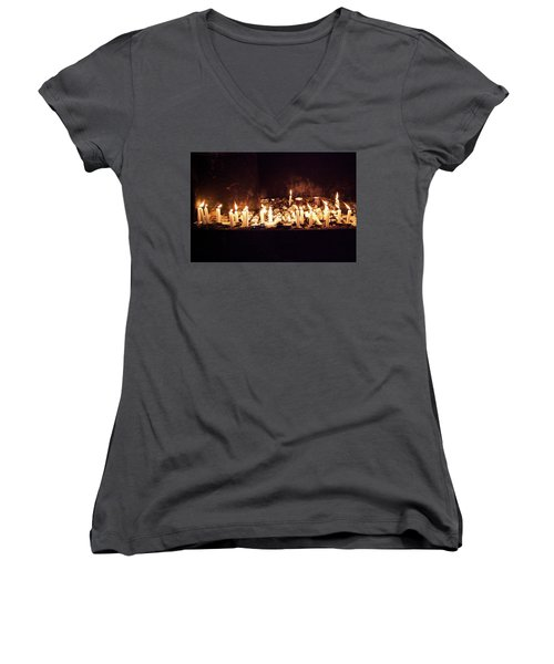 Memorial Candles Women's V-Neck T-Shirt (Junior Cut) by Yoel Koskas