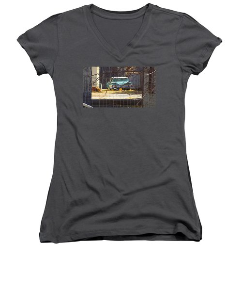Women's V-Neck featuring the digital art Memories Of Old Blue, A Car In Shantytown.  by Shelli Fitzpatrick