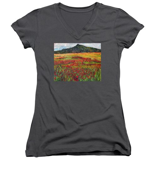 Women's V-Neck T-Shirt (Junior Cut) featuring the painting Memories Of Provence by Michael Helfen