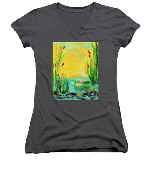 Memories Of The Lake Women's V-Neck (Athletic Fit)