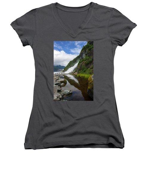 Mendenhall Waterfall Women's V-Neck