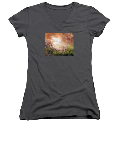 Mending Fences Women's V-Neck T-Shirt (Junior Cut) by Roberta Rotunda