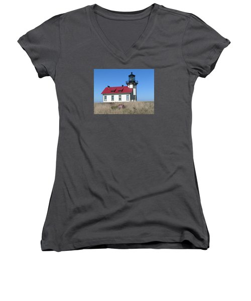 Mendocino Lighthouse Women's V-Neck (Athletic Fit)