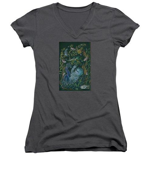 Merbaby Blue Women's V-Neck T-Shirt (Junior Cut) by Dawn Fairies