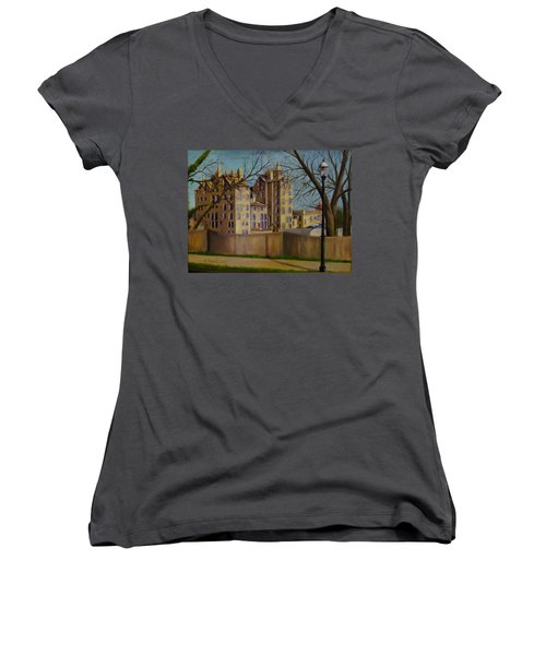 Women's V-Neck T-Shirt (Junior Cut) featuring the painting Mercer Museum by Oz Freedgood