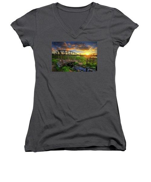 Women's V-Neck T-Shirt (Junior Cut) featuring the photograph Mercia Marina 16.0 by Yhun Suarez