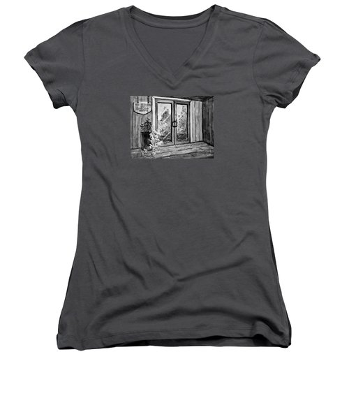 Women's V-Neck T-Shirt (Junior Cut) featuring the painting Mercier Orchard's Cider In Bw by Gretchen Allen