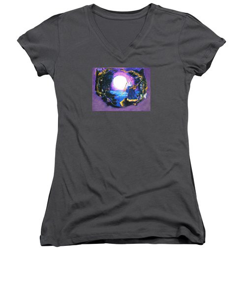 Merlin's Moon Women's V-Neck T-Shirt (Junior Cut) by Seth Weaver