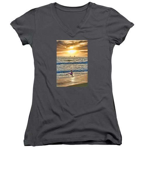 Mermaid Of Venice Women's V-Neck T-Shirt (Junior Cut) by Michael Cleere
