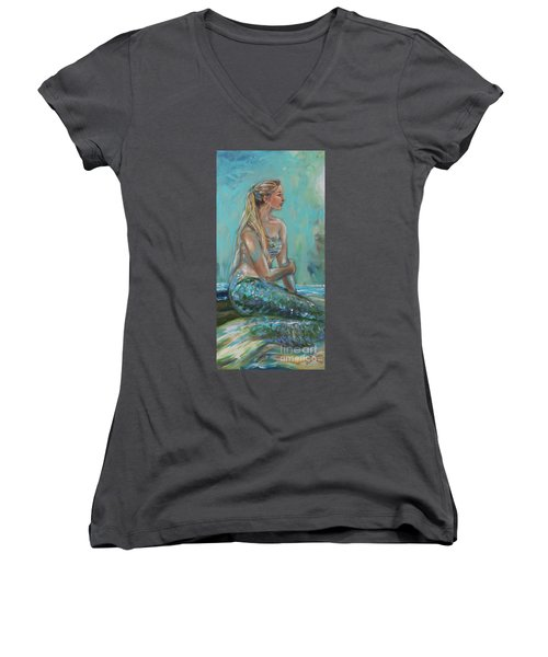Mermaid Sunning On Shore Women's V-Neck T-Shirt