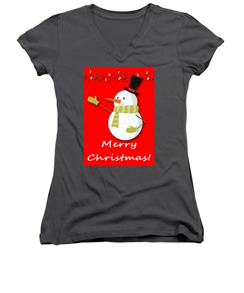 Merry Christmas Big Snow Man On Red Women's V-Neck (Athletic Fit)