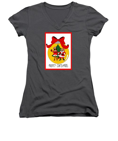Merry Christmas Women's V-Neck T-Shirt (Junior Cut) by Diamin Nicole