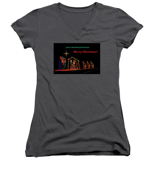 Merry Christmas Women's V-Neck T-Shirt (Junior Cut) by Penny Lisowski