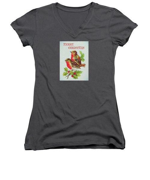 Merry Christmas Snowy Bird Couple Women's V-Neck T-Shirt