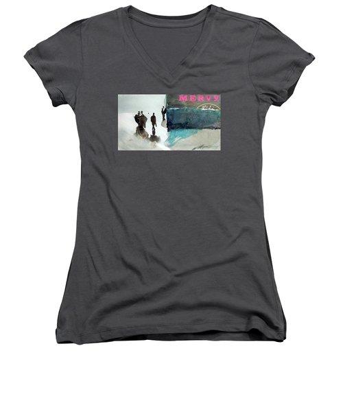 Mervy Women's V-Neck T-Shirt (Junior Cut) by Ed Heaton