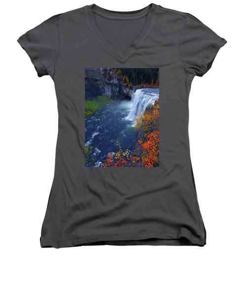 Mesa Falls In The Fall Women's V-Neck (Athletic Fit)