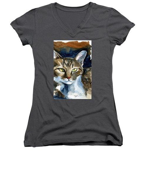 Mesmerizing Eyes - Tabby Cat Painting Women's V-Neck (Athletic Fit)
