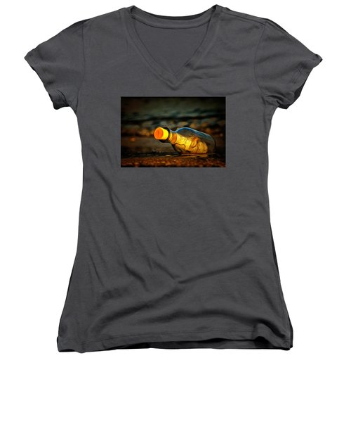 Women's V-Neck featuring the painting Message In A Bottle by Harry Warrick