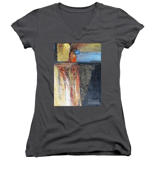 Metallic Fall With Blue Women's V-Neck