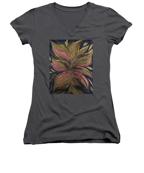 Metallic Flower Women's V-Neck