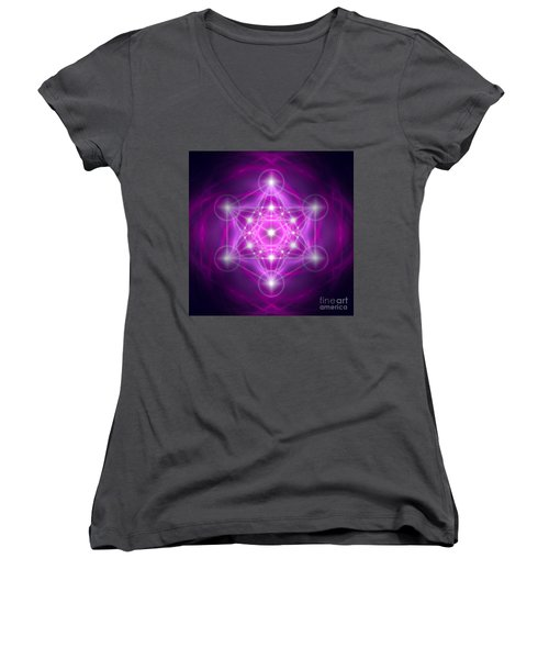Metatron's Cube Purple Women's V-Neck