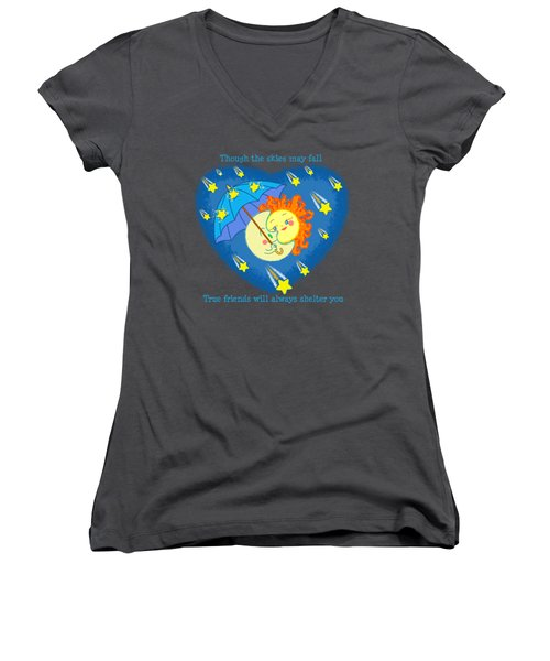 Women's V-Neck T-Shirt featuring the digital art Meteor Shower 3 by J L Meadows