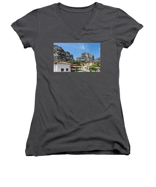 Meteora In Greece Women's V-Neck T-Shirt (Junior Cut) by Arik Baltinester