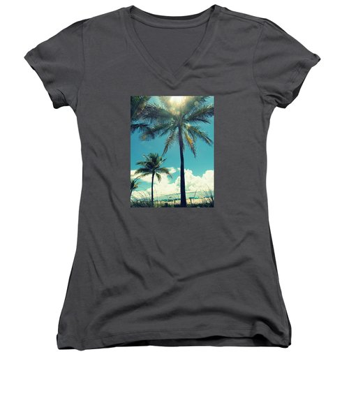 Women's V-Neck T-Shirt (Junior Cut) featuring the photograph Miami Beach by France Laliberte