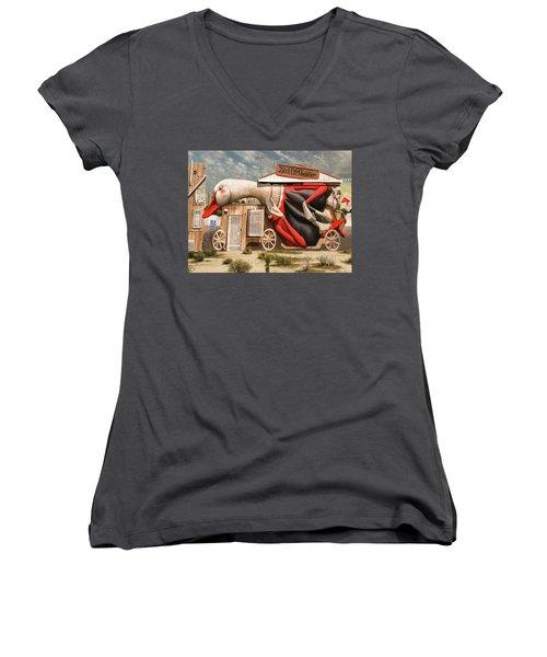 Miami Graffiti Women's V-Neck T-Shirt (Junior Cut) by Jeff Burgess