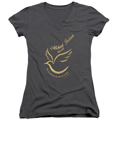 Michael Jackson Golden Dove Women's V-Neck T-Shirt (Junior Cut) by D Francis