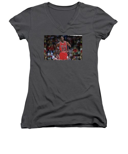 Michael Jordan, Number 23, Chicago Bulls Women's V-Neck T-Shirt (Junior Cut)