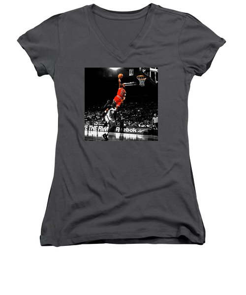 Michael Jordan Suspended In Air Women's V-Neck T-Shirt (Junior Cut) by Brian Reaves