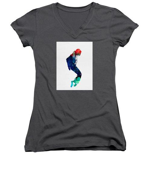 Michael Watercolor Women's V-Neck T-Shirt (Junior Cut) by Naxart Studio