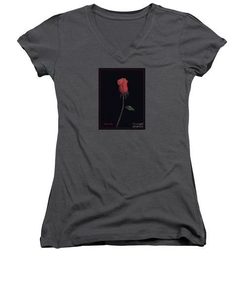 The Perfect Rose 2 Women's V-Neck T-Shirt (Junior Cut) by Becky Lupe