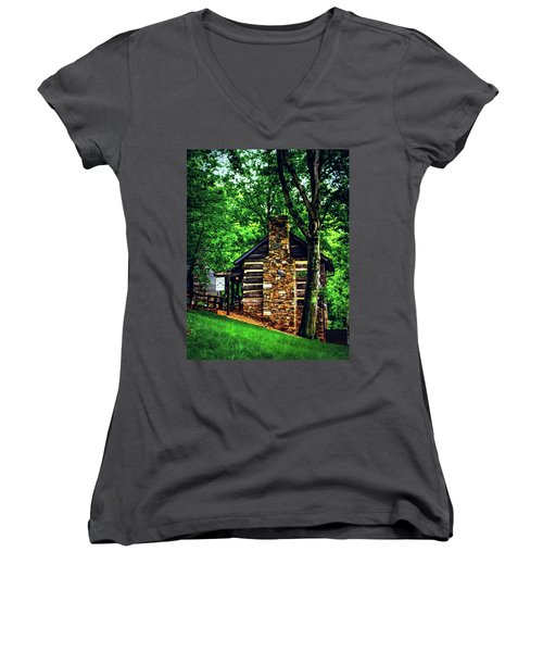 Women's V-Neck T-Shirt (Junior Cut) featuring the photograph Michie Tavern No. 2 by Laura DAddona