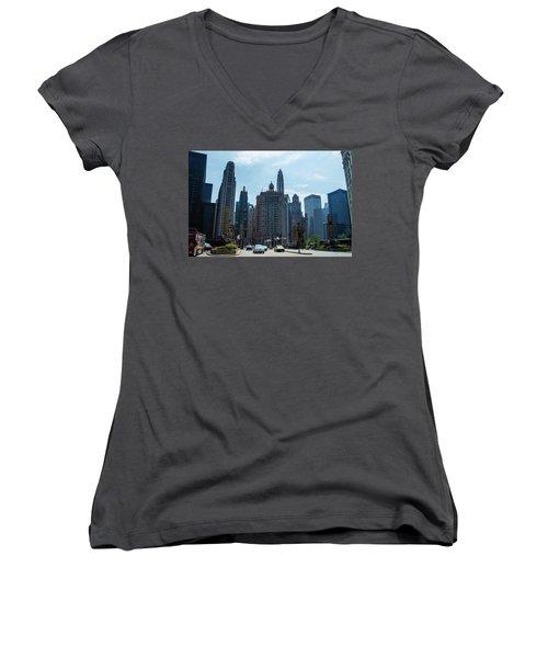 Women's V-Neck T-Shirt (Junior Cut) featuring the photograph Michigan Avenue Bridge And Skyline Chicago by Deborah Smolinske