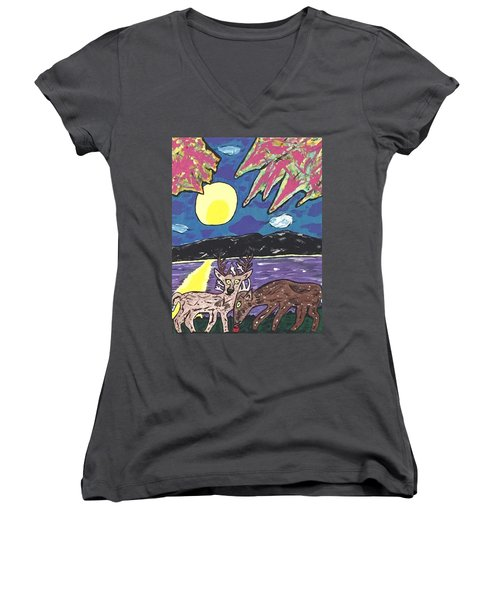Michigan Nature Scene. Women's V-Neck T-Shirt